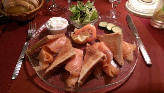 Smoked salmon and toast starter.