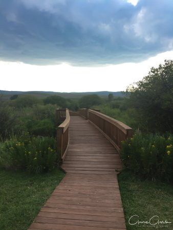 Jelm, WY: The bridge leading to the cabins across the river