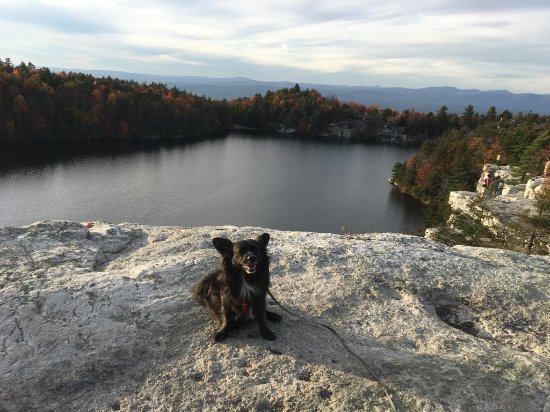 Kerhonkson, NY: Cliff top overlook of the lake