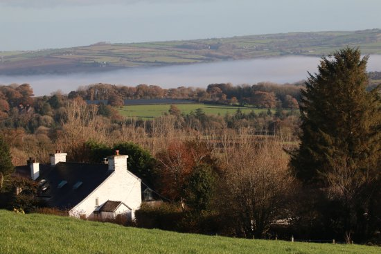 Boncath, UK: View from top field (mist in valley - not sea)