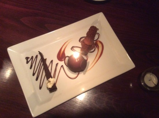 Jacksonville, OR: Chocolate sampler for dessert (with a candle for my husband's birthday ;-)