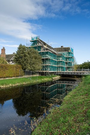 Congleton, UK: Our initial view - lovely scaffolding!
