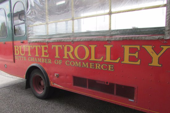 Butte Trolley Tour: Trolley at the visitors center.