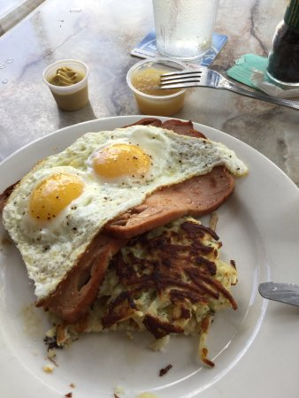 Hollerbach's: Leberkaese w/eggs and some sort of potato pancake (don't recommend the pancake)