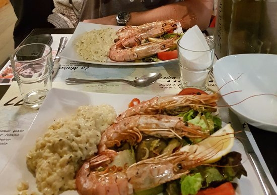 Port-Cros, Frankreich: gambas + risotto