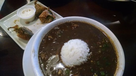 League City, TX: Small gumbo with stuffed jalapenos