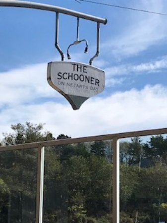 Netarts, OR: The Schooner's boat-shaped sign