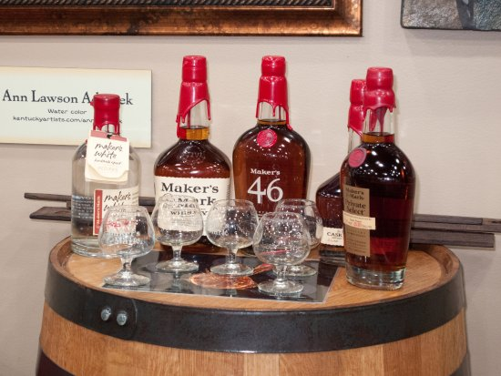 Product display in tasting room at Maker's Mark.
