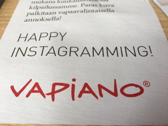 Vapiano : インスタグラム大歓迎だそうです。(笑)