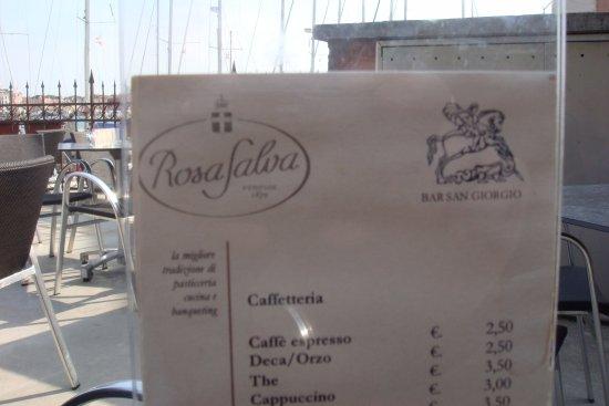 Isola San Giorgio Maggiore, Italy: меню