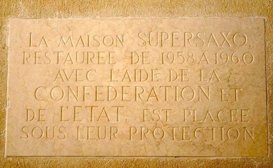 Maison Supersaxo: plaque commémorative (1960)