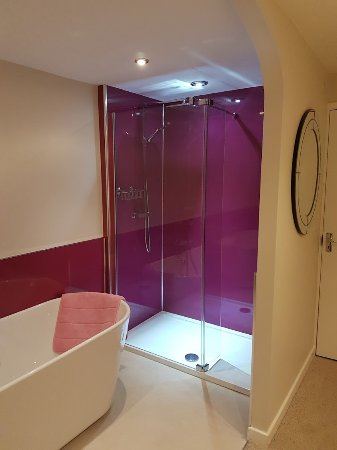 Llanbrynmair, UK: Shower / Bath - Room in newly refurbished section.