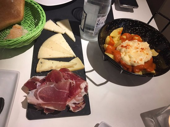 The delicious Patatas Bravas and the Mixed Plate