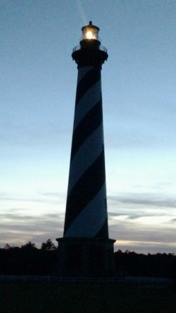 Cape Hatteras Lighthouse: Shot from parking lot at dusk