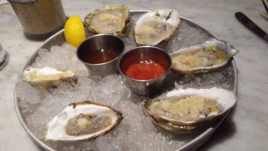 Dock's Oyster House: a half dozen....two of each