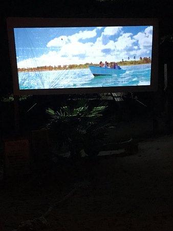 Sandy Bay, Honduras: Outdoor movie screen
