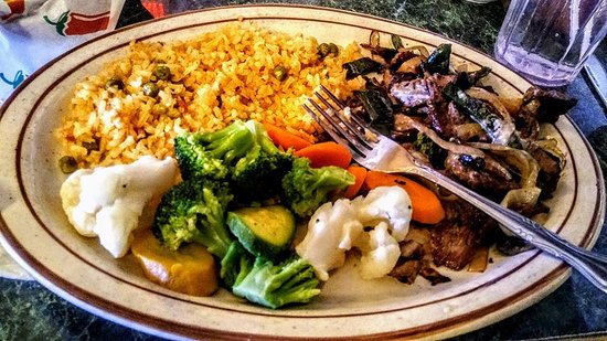 El Tequila: Hawaiian grill Beef with Mexican Rice and steam Vegetables