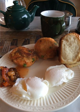 Witless Bay, Canada: sweet potato cakes and poached eggs