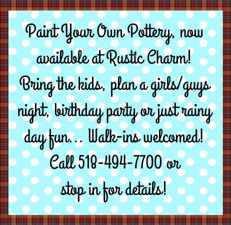 Rustic Charm: Paint Your Own Pottery! Walk ins welcome!