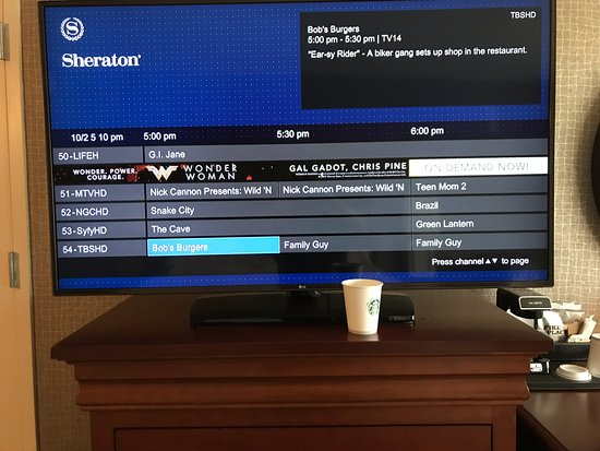 Large flatscreen TV with many HD channels - Picture of