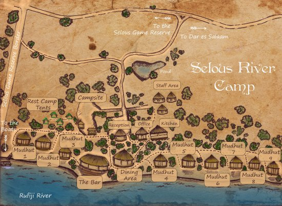 Map of the camp picture of selous river camp selous game reserve selous river camp map of the camp gumiabroncs Image collections