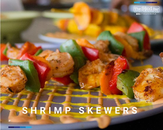 The Sand Bar at Doctor's Cave Bathing Club: Mouth Watering Shrimp Skewers