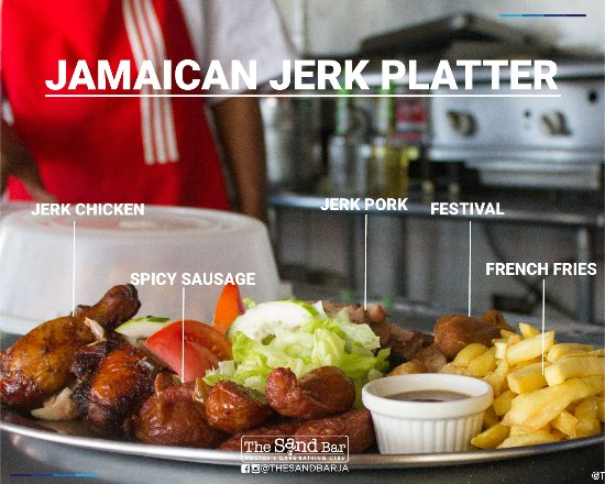 The Sand Bar at Doctor's Cave Bathing Club: Experience the authentic Sand Bar's Jerk Platter.