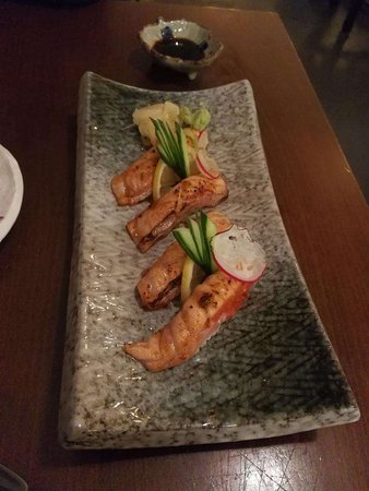 Spicy Seared Salmon Nigiri Picture Of Sushi Hub Swanston Melbourne Tripadvisor