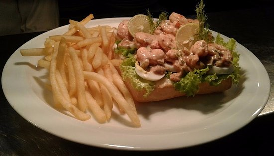 Open Prawns Sandwich, Served with French Fries