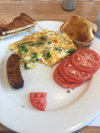 Frankford, DE: Asparagus omelet with sliced tomatoes instead of potatoes.  Fat sausage links!  Diabetics dream