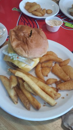 Brandenburg, Κεντάκι: Junior slaw burger with french fries and onion slivers