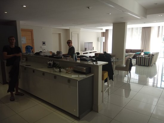 Lawhill Luxury Apartments: living room and part of the kitchen