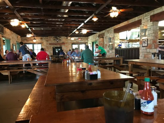 Salt Lick BBQ: Menu and inside Salt Lick restaurant
