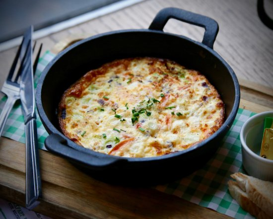 Oven Baked Omelette - with spring onion, red onions ...