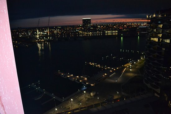 AKOM Docklands: view from the balcony at night