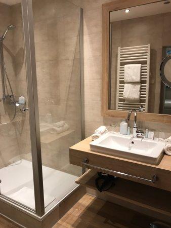 Drei Loewen Hotel: Sauberes Bad mit großer Dusche