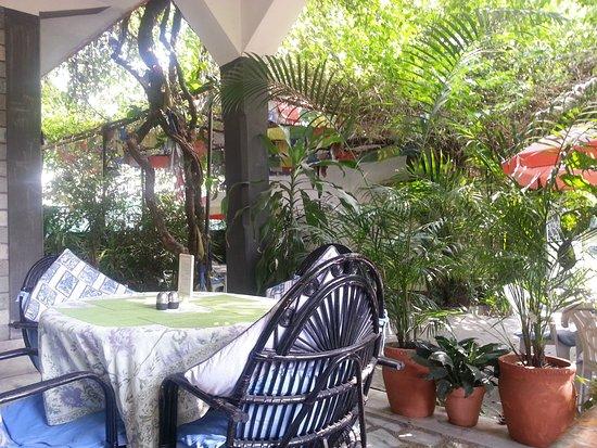 Sacred Valley Inn Pokhara: Terrasse vor dem Haus: gut zum Essen, Trinken, Freundschaften schließen