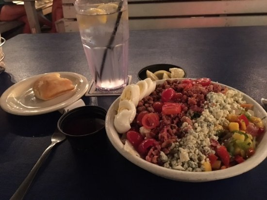 Flounder's Chowder House: Flounder's Florida cobb salad and dinner roll
