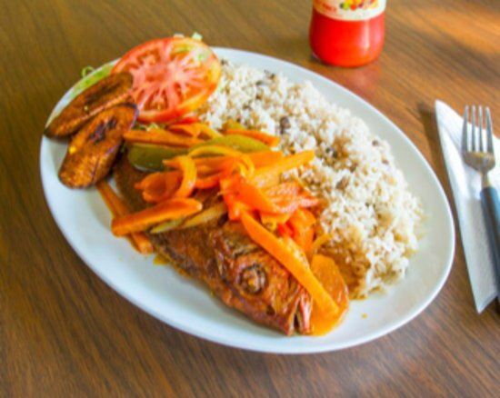 East Orange, NJ: Brown Stew Fish, Rice and Peas and fry plantains.