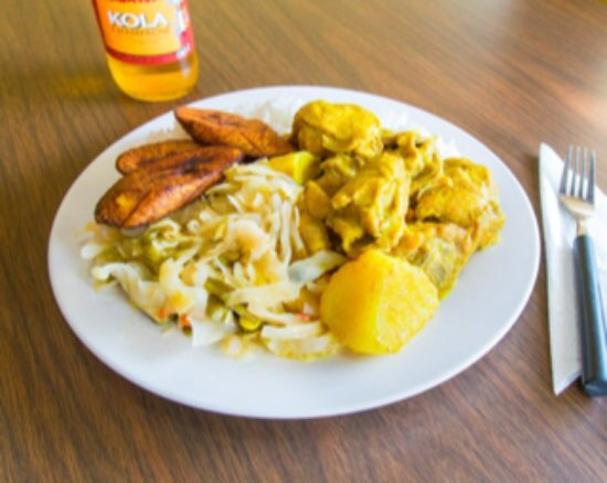 East Orange, NJ: Curry Chicken with white rice and fried plantain.