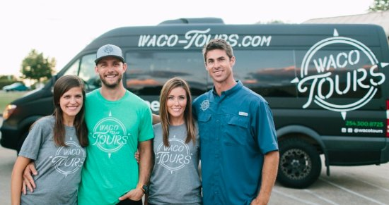 Owners of Waco tours: Rachel & Luke Whyte and Rachel & David Ridley