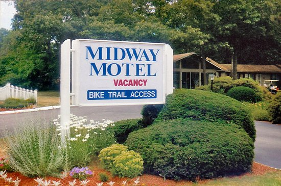 Midway Motel: The Midway's sign and plantings greet guests as they arrive at the property