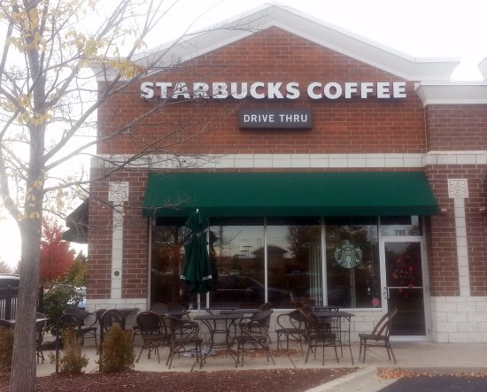 Algonquin, IL: front of & outdoor dining area for Starbucks Coffee