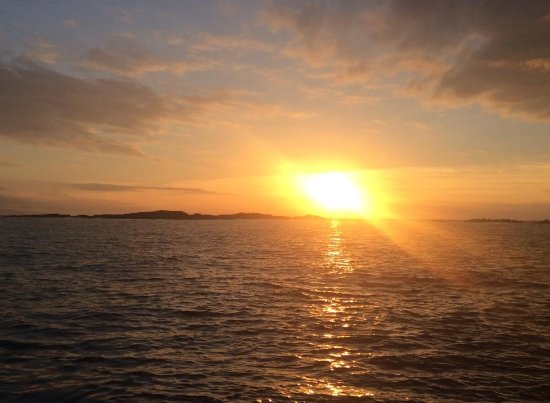 View at sunset of Skerries islands off Portrush