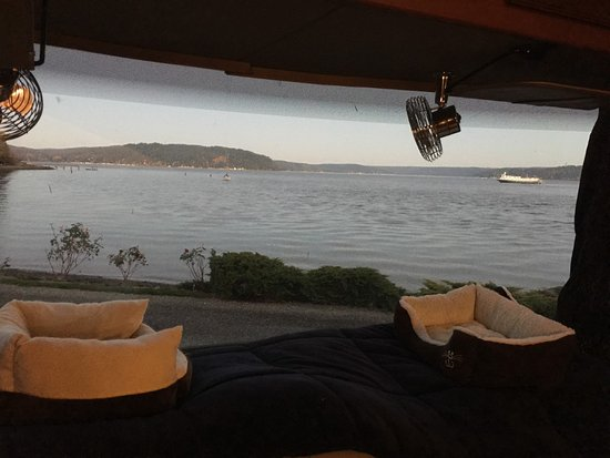 The Waterfront at Potlatch Resort: View out the front window of the RV