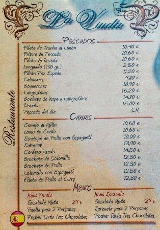 Mezquitilla, España: Carta de pescados, carnes y menús