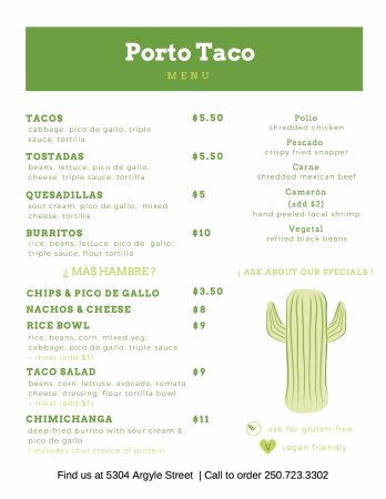 Porto Taco: On Our Menu. Porto Taco Patio Dinning