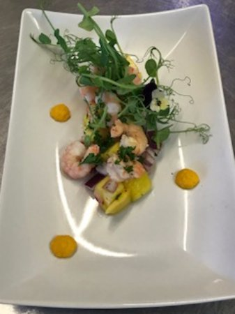 Annan, UK: King Prawns served on Mango and chili salsa