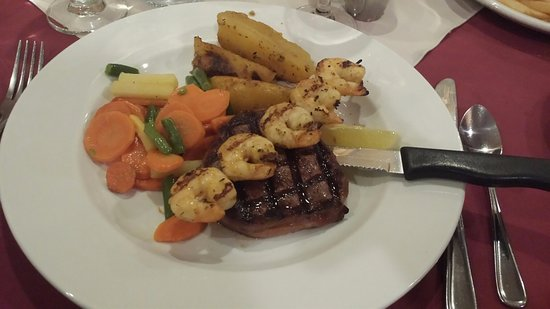 Romero's Restaurant: Beef Tenderloin with a shrimp skewer and roasted potatoes