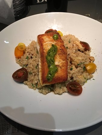Wellesley, MA: Seared Halibut over cauliflower couscous.